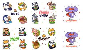 熊猫与兔子等卡通可爱动物矢量素材
