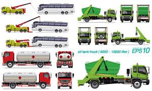 大巴车与清障车等交通车辆矢量素材