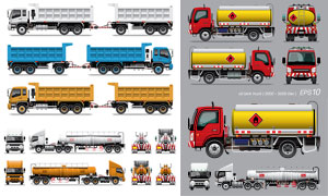 油罐车与拖车等大卡车主题矢量素材