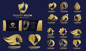 人物剪影元素金色标志设计矢量素材