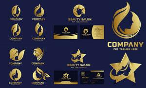 金色人物剪影标志与名片设计矢量图