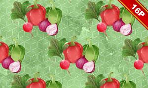 辣椒茄子等水彩风蔬菜无缝图案图片