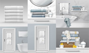 浴室房间里的毛巾等物品设计矢量图