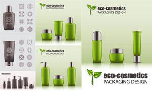 護膚用品包裝與花紋圖案等矢量素材