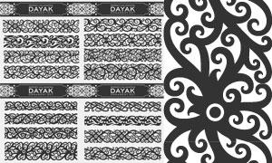 連續樣式黑白花紋圖案創意矢量素材