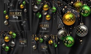 质感圣诞球与彩带等圣诞节矢量素材