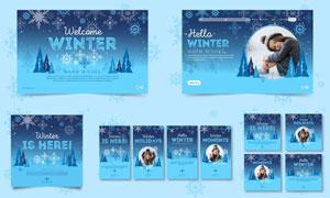 雪花图案蓝色冬日广告设计矢量素材