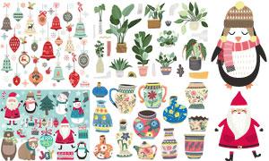 圣诞挂饰与室内植物等创意矢量素材