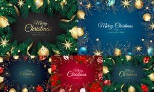 树枝与圣诞球等圣诞节边框矢量素材