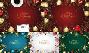 金色圣诞球等装饰圣诞主题矢量素材