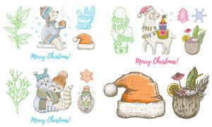 绵羊等动物圣诞节手绘插画矢量素材