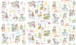 手绘动物插画与无缝图案等矢量素材