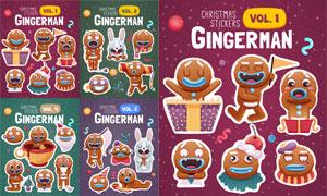 兔子与姜饼人等圣诞节卡通矢量素材