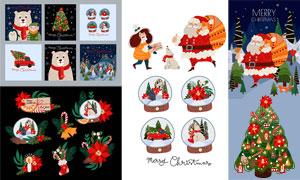 圣诞树与动物等卡通创意设计矢量图