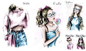 时尚服饰美女模特水彩插画矢量素材