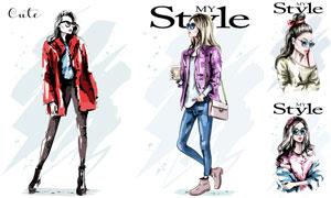 时尚造型打扮美女模特插画矢量素材