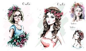 鲜花发饰美女人物插画创意矢量素材