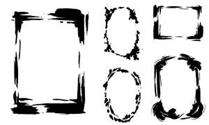 黑白水墨笔触元素边框矢量素材集V01