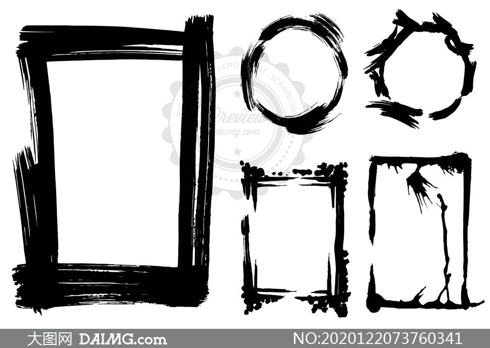 山水泼墨画ps素材_黑白水墨笔触元素边框矢量素材集V02_大图网图片素材