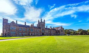 悉尼大学和绿色草地摄影图片