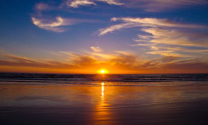 大海上的夕阳美景高清摄影图片