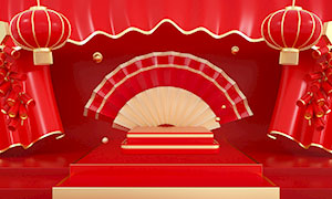 新年舞台背景设计PSD素材
