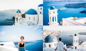 圣托里尼旅游照片藍色藝術效果LR預設