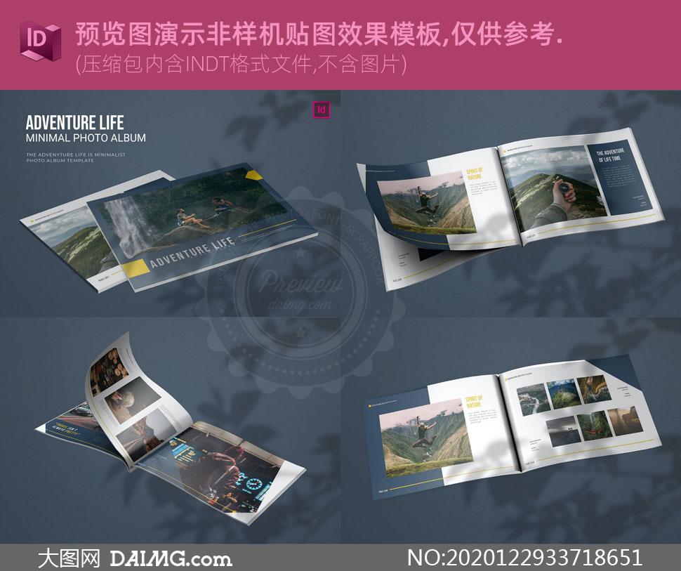 户外生活摄影画册杂志页面版式模板