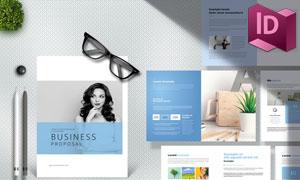 蓝色配色企业项目提案设计模板素材