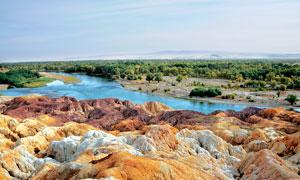 森林中的河流和岩石地貌摄影图片