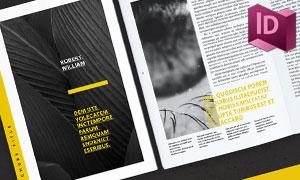 黄色主色调的杂志画册图文排版素材