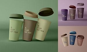 纸质咖啡杯杯身图案展示模板源文件