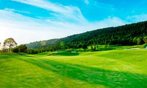 山脚下的高尔夫球场摄影图片