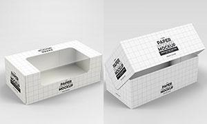 带透明窗的包装盒样机模板分层素材