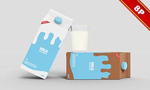 一升装牛奶包装盒样机模板分层素材