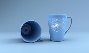 蓝色杯子上的标志图案样机模板素材