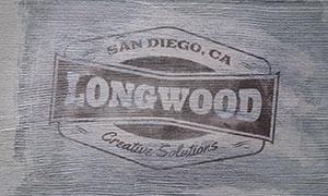 木纹上的喷绘效果标志图案样机模板