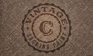 麻袋纹理上的标志样机模板分层素材