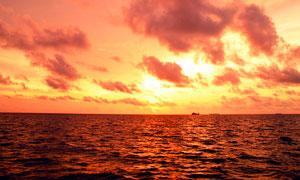 夕阳下美丽的海洋风光摄影图片