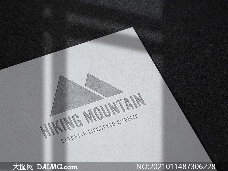 纸张上的浮雕质感标志样机模板素材