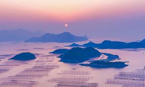 霞浦海边养殖区夕阳美景全景摄影图片