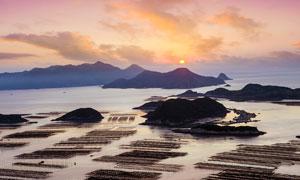 夕阳下的霞浦海边景观摄影图片