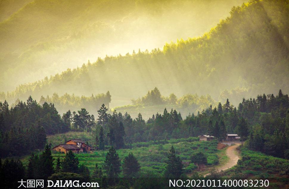 清晨美丽的山村美景摄影图片