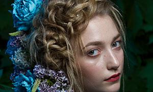 鲜花装饰美女模特人物写真摄影原片