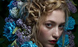 多种鲜花装饰的长辫子美女摄影原片