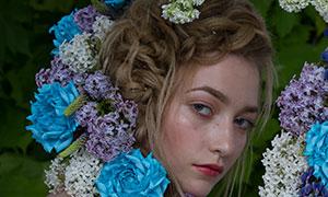 绿叶鲜花欧美模特人物摄影原片素材