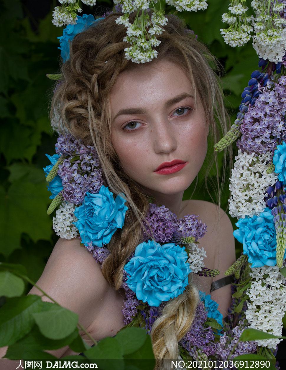 欧美香肩美女写真摄影高清原片素材