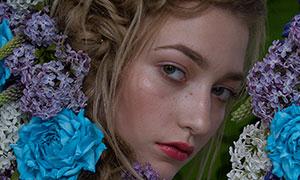 繁花锦簇欧美模特人物摄影原片素材