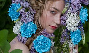 被鲜花遮到眼睛的美女特写摄影原片