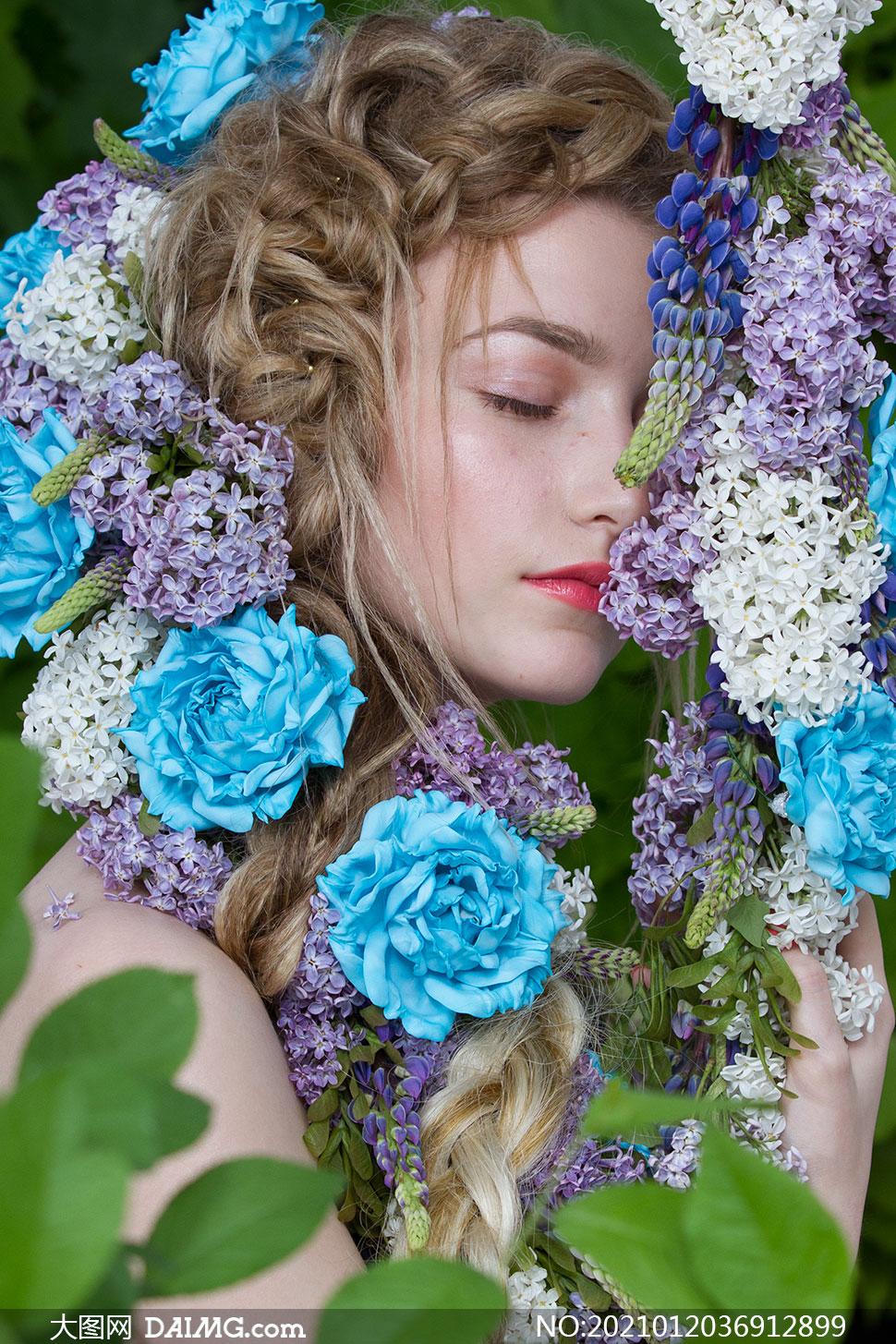 盛开鲜花辫子美女人物写真摄影原片